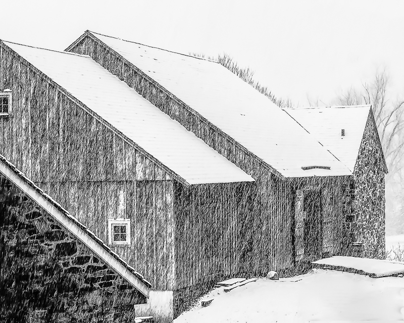 John Toutkaldjian - Barn in Snow
