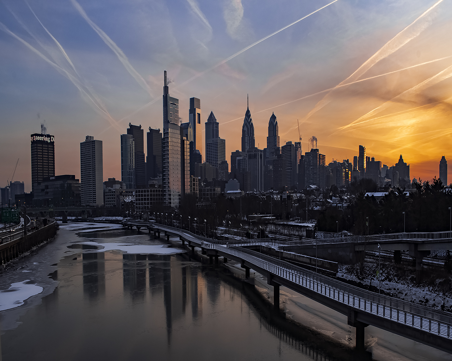 Diane McKinley - Sunrise From South Street Bridge - Philadelphia, PA